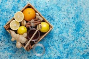 ingredients: fresh ginger ,lemon,cinnamon sticks